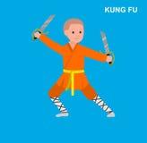 Bärande kimono för tecknad filmunge, kampsport Arkivfoto