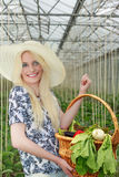 Bärande korg för nätt kvinna av Veggies på henne arm Arkivfoton