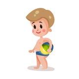 Bärande kortslutningar för pys för att simma att spela med en boll, unge som har gyckel på den färgrika teckenillustrationen för  stock illustrationer