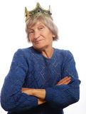 Bärande krona för hög kvinna som gör skraj handling arkivbild
