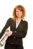 bärande mappkvinna Royaltyfri Fotografi