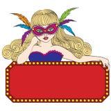 Bärande maskering för karnevalkvinna med ramvektorn Arkivfoton