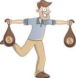 Bärande påsar för lycklig man av pengar stock illustrationer