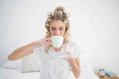 Bärande papiljotter för avkopplad nätt blondin som dricker kaffe royaltyfri bild