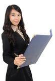 bärande pennkvinna för bok Royaltyfri Fotografi
