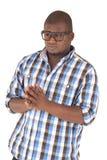 Bärande plädskjorta och exponeringsglas för svart man Arkivbild