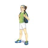 Bärande ryggsäck för flicka och tennisskor som isoleras på vit bakgrund Royaltyfri Bild