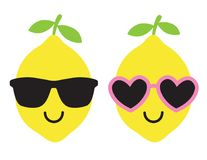 Bärande solglasögon för citron i sommarvektorillustration Royaltyfria Foton