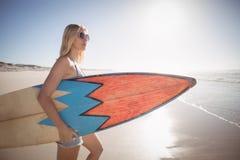 Bärande surfingbräda för kvinna på stranden under solig dag Arkivbilder