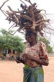 Bärande trä för afrikansk kvinna Royaltyfria Foton