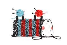 Bärande tröja för gulligt fårhandarbete royaltyfri illustrationer