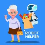 Bärande vagn för robothjälpreda med produkter av den äldre kvinnavektorn isolerad knapphandillustration skjuta s-startkvinnan vektor illustrationer