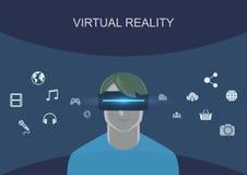Bärande virtuell verklighethörlurar med mikrofon för man Royaltyfri Fotografi