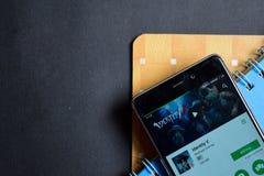 Bärare app för identitet V på den Smartphone skärmen royaltyfri bild
