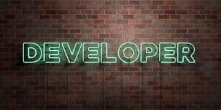 BÄRARE - fluorescerande tecken för neonrör på murverk - främre sikt - 3D framförd fri materielbild för royalty stock illustrationer