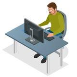 Bärare som använder bärbar datordatoren Rengöringsdukutvecklingsbegrepp Rengöringsduk som programmerar begrepp Programmera och at stock illustrationer