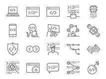 Bäraresymbolsuppsättning Inklusive förbinder flödar symbolerna som koden, programmerare som kodifierar, mobilen app, api, knutpun royaltyfri illustrationer
