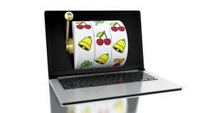 bärbar dator 3d med enarmade banditen stock illustrationer