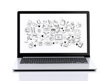 bärbar dator 3d med utbildningsskecth på skärmen Arkivbild