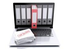 bärbar dator 3d och hemlighetmapp sammankoppliner för kopieringsdata för begreppet konventionell avstånd för säkerhet för padlock Royaltyfri Illustrationer