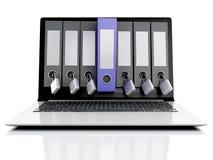 bärbar dator 3d och hemlighetmapp sammankoppliner för kopieringsdata för begreppet konventionell avstånd för säkerhet för padlock Stock Illustrationer
