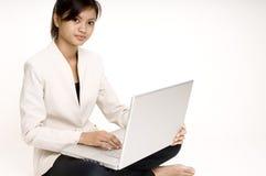 bärbar dator för 5 flicka Arkivbilder