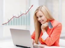 bärbar dator för affärskvinnakortkreditering Arkivfoton