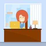 Bärbar dator för arbetsplats för kontor för skrivbord för sammanträde för affärskvinna stock illustrationer