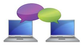 bärbar dator för kommunikationsbegreppsanslutning Royaltyfria Bilder