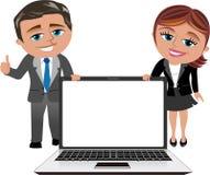 Bärbar dator för visning för affärskvinna och man Royaltyfria Bilder