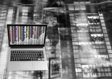Bärbar dator Front View med Fotografering för Bildbyråer