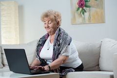 bärbar dator genom att använda kvinnan Arkivbilder
