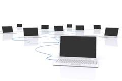 Bärbar dator knyter kontakt. Arkivfoto