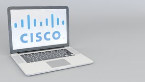 Bärbar dator med den Cisco Systems logoen Tolkning för ledare 3D för datateknik begreppsmässig Arkivbild