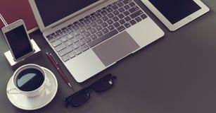Bärbar dator med den digital minnestavlan och spartphone Royaltyfria Bilder