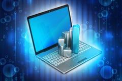 Bärbar dator med den finansiella grafen Arkivbild