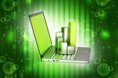 Bärbar dator med den finansiella grafen Arkivbilder
