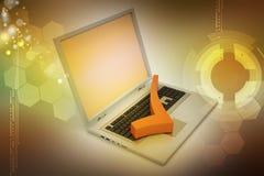 Bärbar dator med den högra fläcken Arkivfoton