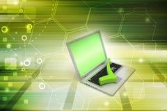 Bärbar dator med den högra fläcken Royaltyfria Foton