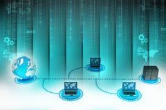 Bärbar dator med den stora serveren och jordklotet för kolonnbild för askar 3d platta Arkivbilder