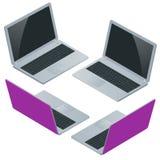 Bärbar dator med den tomma skärmen som isoleras på vit bakgrund Bärbar dator Royaltyfri Bild