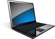 Bärbar dator med det blåa band Fotografering för Bildbyråer