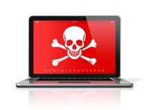 Bärbar dator med ett piratkopierasymbol på skärmen Isolerat på framförd white Royaltyfri Bild