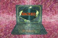 Bärbar dator med hackat ord Fotografering för Bildbyråer