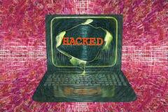 Bärbar dator med hackat ord Royaltyfria Foton