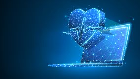 Bärbar dator med hjärtapulslinjen på anteckningsbokskärmen Polygonal internetbehandling, datoromsorgbegrepp Abstrakt digitalt stock illustrationer