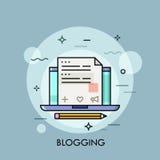 Bärbar dator med internetbloggen på skärmen, nöjd skapelse för website royaltyfri illustrationer