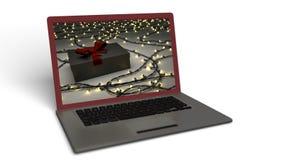 Bärbar dator med julbakgrund Royaltyfri Fotografi
