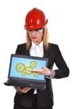 Bärbar dator med kugghjul Royaltyfria Foton