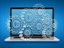 Bärbar dator med kugghjul Reparation och underhåll av datorer Teamwork Arkivfoton